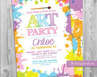 Art Paint Party Invitations: Printable Birthday Invitation, pastel kids invite rainbow colors, party printables, decorations available