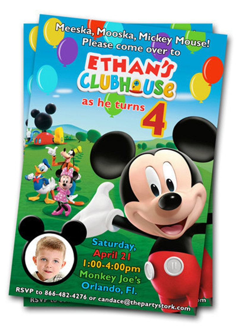 Mickey Mouse Clubhouse Birthday Invitations Printable Mickey Etsy