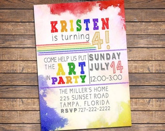 Painting Party Invitation, Printable Painting Party Invites