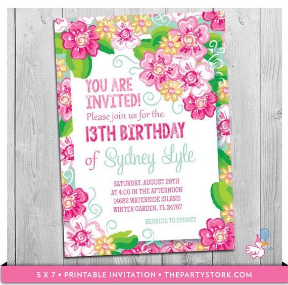 floral invitation printable girls themed birthday party invitations