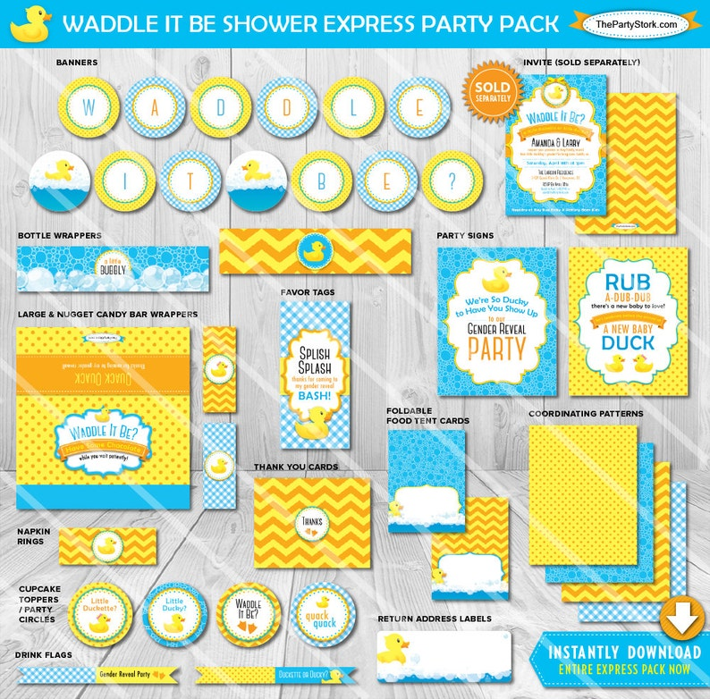 photograph regarding Printable Party Decorations named Waddle it Be Gender Clarify Get together Decorations Printable Get together Materials  Duck Little one Shower Package deal Blue Yellow Concept Quick Down load