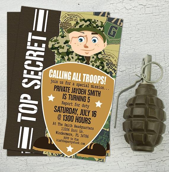 Army Invitation Birthday Camo Camouflage Printable Boys Party
