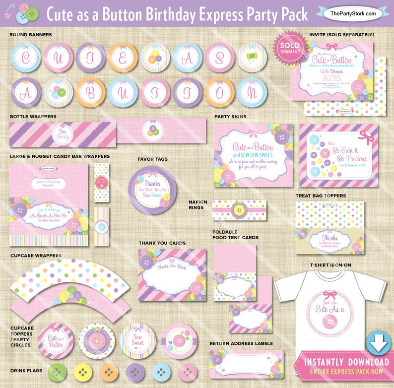 Cute As A Button Birthday Decorations Printable Express