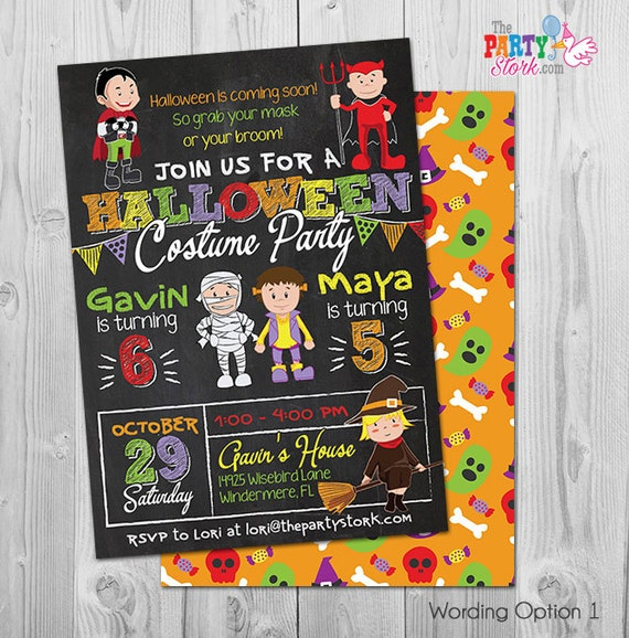 image about Halloween Invites Printable called Halloween Birthday Invites Young children Halloween Dress