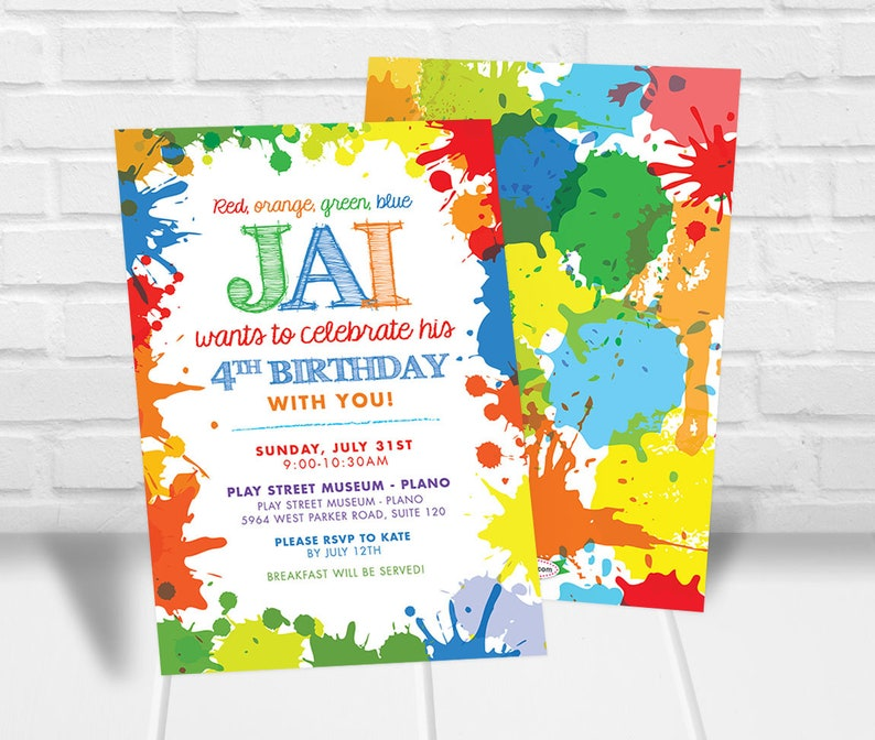 image about Free Printable Paint Party Invitations named Boys Artwork Bash Invitation Obtain Boys Artwork Get together Invitaton Boys Electronic Paint Get together Invitation Paint Splatter Invitation Artwork Celebration Invite