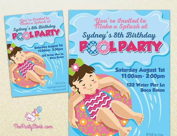 Pool Party Invitation Printable Girl Birthday Invite Summer Pool