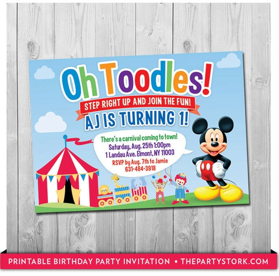 mickey mouse birthday invitation carnival or circus party theme