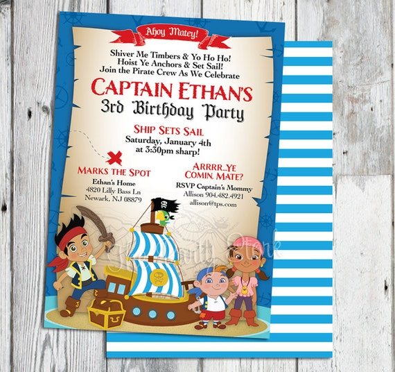 Jake And The Neverland Pirate Invitations Invitation Birthday Invites