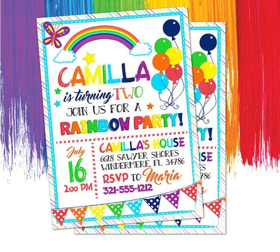 rainbow invitation printable girls party invitation rainbow