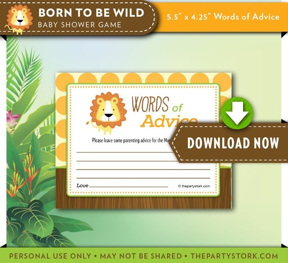 Jungle Safari Friends Printable Baby Shower Wishes for Baby Advice Cards