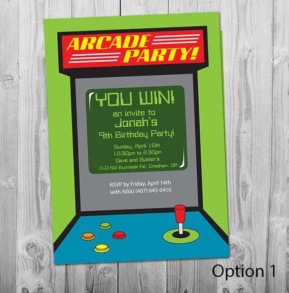 Arcade Invitation Printable Personalized Boys Birthday Party Etsy