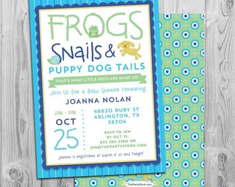 Frogs, Snails and Puppy Dog Tails Invitation, Baby Boy Shower invite with FREE back, printable DIY, Blue, Birthday