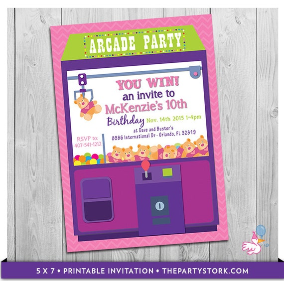 Arcade Invitation Printable Personalized Girls Birthday Party