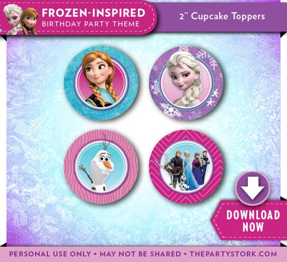 Frozen Cupcake Toppers, Frozen Party Printables, Frozen