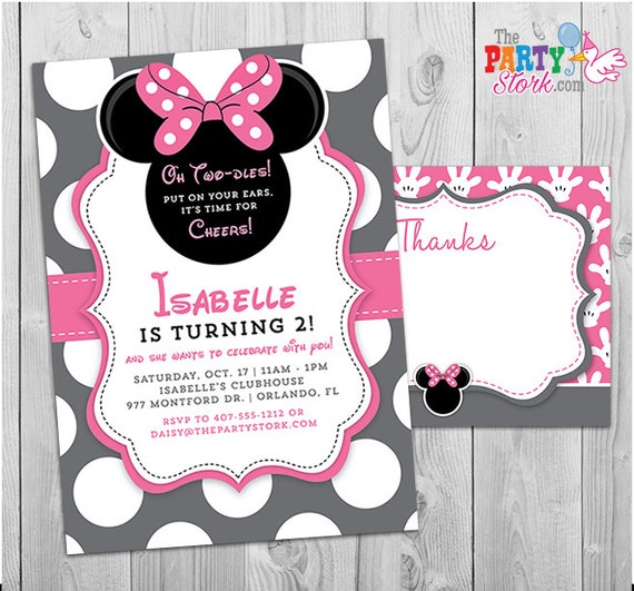 Minnie Mouse Invitation Oh Twodles Invitation 2nd Birthday