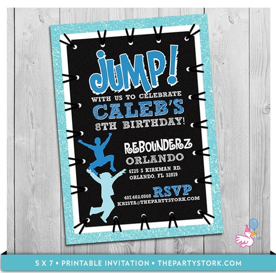 Trampoline Party Invitations: Trampoline Party Invitation: Custom Printable Boys JUMP