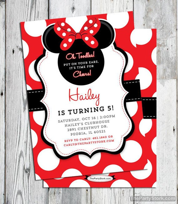 Minnie Mouse Invitation Red Printable Birthday Party Invite 1st 2nd 3rd Girl