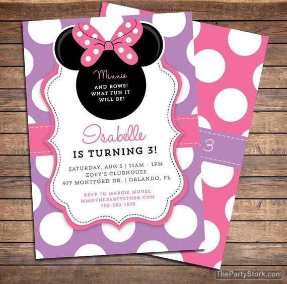 Birthday Invitations For Girls Minnie Bowtique Invitation Mouse Party Invite Pink Purple DIY