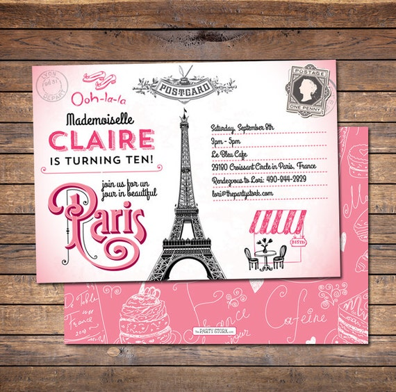 Paris Birthday Invitation Printable Party Invites