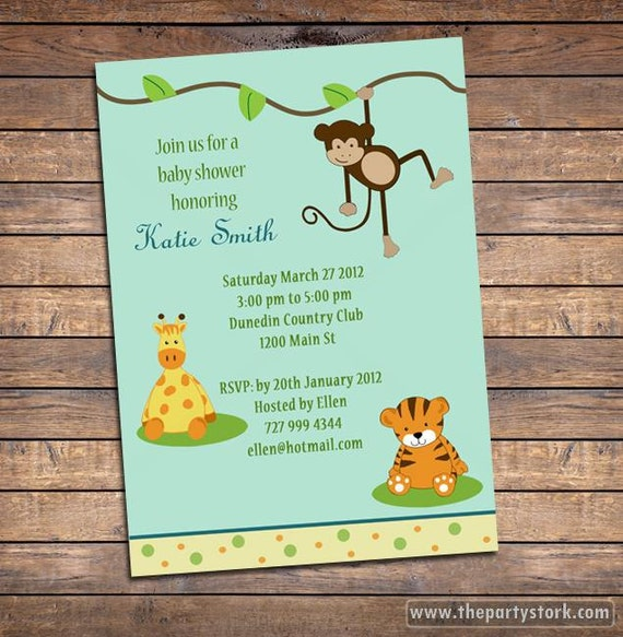 Safari baby shower invitations jungle animal party theme printable il570xn filmwisefo