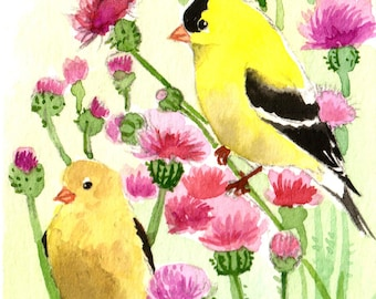 Miniature watercolor painting Goldfinch art ACEO Limited Edition-Spring sonata