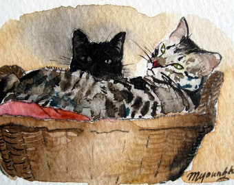 ACEO Limited Edition 14/25-Oz and Syene, in watercolor, Gift idea for cat lovers, Cute animal art print of an original ACEO watercolor