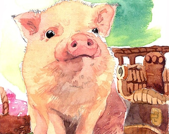 ACEO Limited Edition 2/25- Little fella in a picnic, Pig art print of an original watercolor ACEO painted by Anna Lee, Animal painting