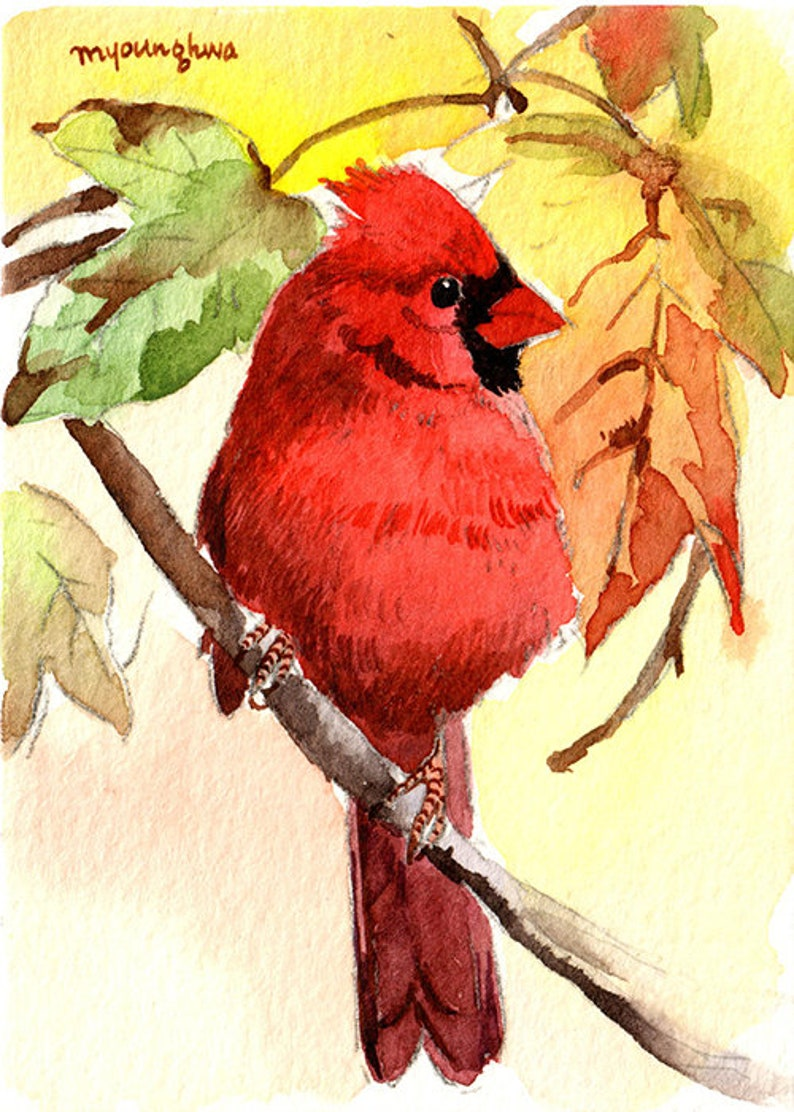 ACEO Limited Edition Flying cardinals Art print 2.5x3.5