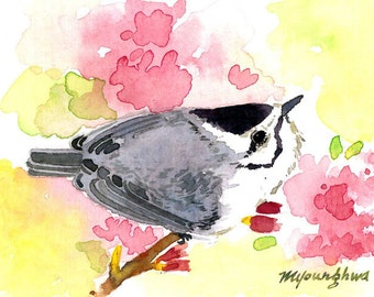 ACEO Limited Edition 3/25- Nuthatch in flower, Bird art print of an original watercolor, Gift idea for bird lovers