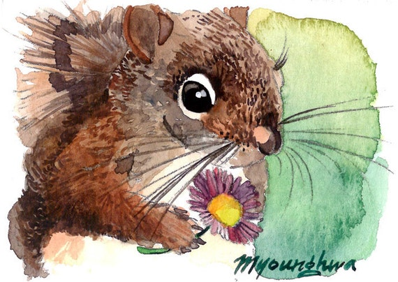 ACEO Limited Editionl Friendship Squirrel /& Chickadee Gift for animal lovers