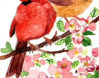 ACEO Limited Edition 1/25- Birds in apricot blossoms, Art print, Cardinal in spring, Bird print of watercolor ACEO, Miniature painting