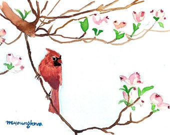 ACEO Limited Edition 1/25 - Cardinal in spring dogwood, Bird art print, Collectable art