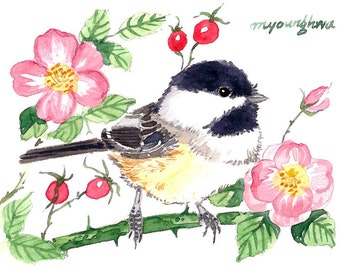 ACEO Limited Edition - Chickadee in wild roses