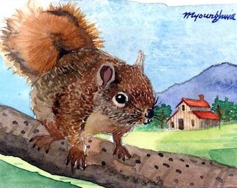 Edición limitada de ACEO 5-25 - día de sol en mi infancia, impresión del arte de una acuarela original pintura, ardilla, idea de regalo de inauguración de la casa pequeña
