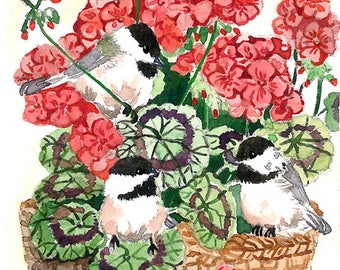 ACEO Limited Edition 2/25 - Chickadee in geranium, Bird Art print of an original ACEO watercolor painted by Anna Lee