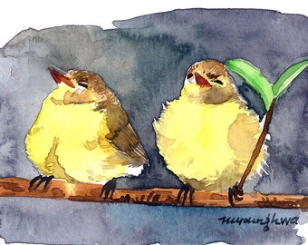 ACEO Limited Edition 1/25 - Looks Like Rain, Spring chicks, Art print of an original watercolor