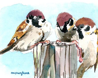 ACEO Limited Edition 2/25- Three sparrows, Art print of original  watercolor, Collectible art,Miniature painting,Gift idea