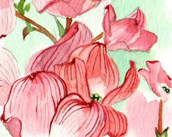 ACEO Limited Edition 1/25- Dogwood blooms in wind, Spring flower art print, Spring Home decor, Gift for her
