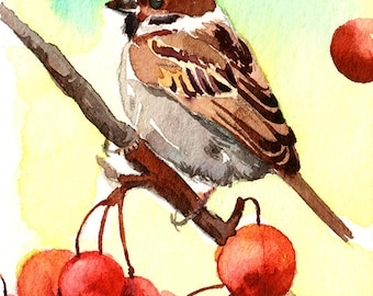 ACEO Limited Edition 1/25- Adorable sparrow, Bird print of an original ACEO watercolor, Small gift idea for bird lovers