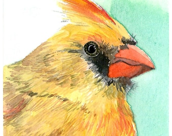 ACEO Limited Edition - A profile of cardinal, in watercolor