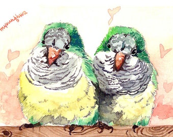 ACEO Limited Edition 1/25 - Together, Lovebirds, Bird art print, Small gift for bird lovers,Collectable art