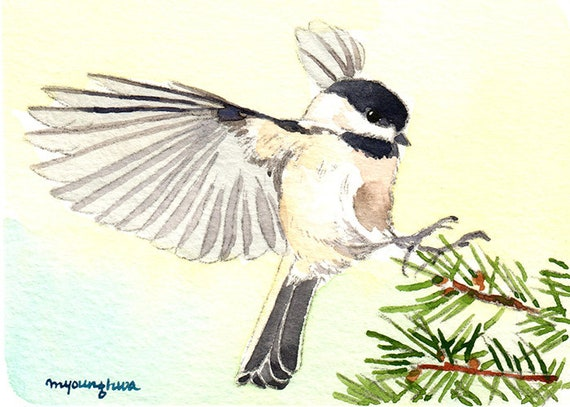 "Small gift idea Art print 2.5/""x3.5/"" Chickadee in snow forest Bird art"