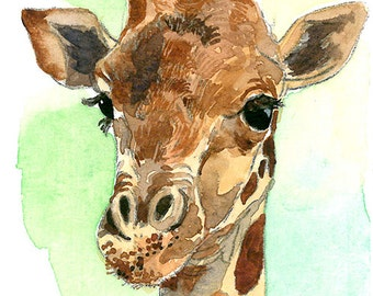 ACEO Limited Edition 8/25- It's A Giraffe!, Art print of an ORIGINAL ACEO watercolor painting, Gift for animal lovers, Housewarming gift