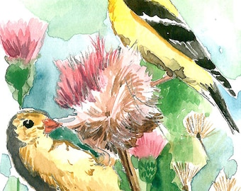ACEO Limited Edition 1/25 - Goldfich pair in thistles, Bird art print, Collectable art