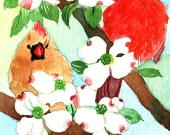 ACEO Limited Edition 1/25- Dogwood flowers on the first date, Cardinal print of an original ACEO watercolor, Small gift idea for bird lovers