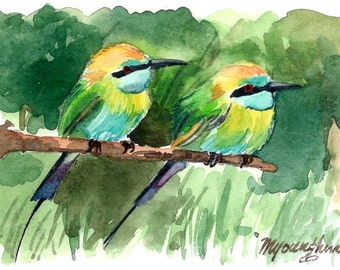 ACEO Limited Edition  1/25- Prowling Bee-eaters, in watercolor.