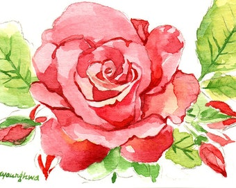 ACEO Limited Edition 2/25- Rose, Flower art print, Spring Home decor, Gift for her