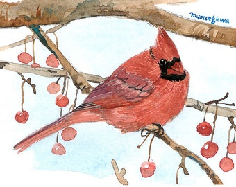 ACEO Limited Edition 1/25 - Tranquility, Cardinal, Bird art print, Collectable art