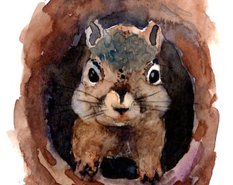 ACEO Limited Edition  - Chattering Squirrel, in watercolor
