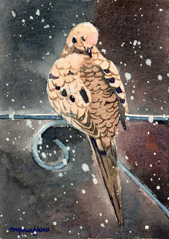 ACEO Limited Edition Robin print of original watercolor Bird in snow falling